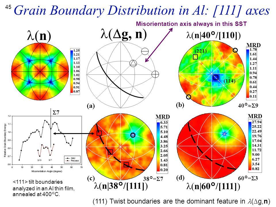 Grain Boundary Distribution in Al: [111] axes